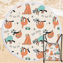 Cute Sloth Series Summer Beach Towel 150cm Round Soft Microfiber Bath Towel with Drawstring Bag Home Decor Wall Tapestry