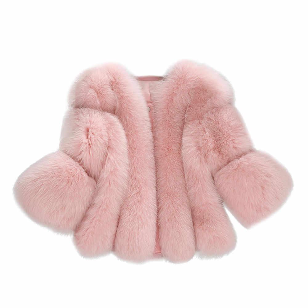 Vizon palto kadınlar 2019 kış en moda pembe taklit kürk ceket zarif moda katı ceketler kürk kısa dikiş suni kürk ceket