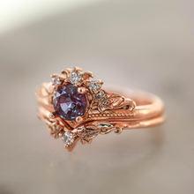 Элегантное ожерелье из розового золота обручальные кольца Набор