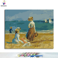 Watching Digital Painting Hand-Painted Coloring Beach The on Sea Famous Monet's Casual