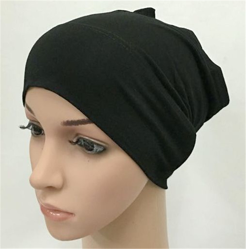 2020 Soft Modal Inner Hijab Caps Muslim Stretch Turban Cap Islamic Underscarf Bonnet Hat Female Headband Tube Cap Turbante Mujer