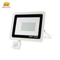 Led reflector del sensor PIR 220V 10W 20W 30W 50W 100W impermeable IP66 al aire libre luz Led reflectora lámpara de jardín cálido blanco frío