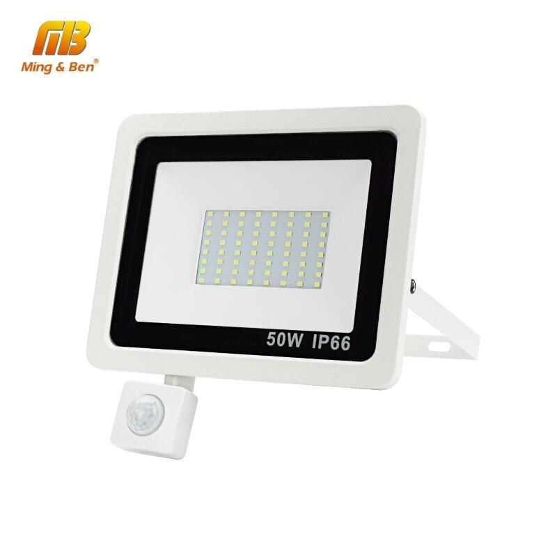 Led  PIR Sensor Floodlight 220V 10W 20W 30W 50W 100W Waterproof IP66 Outdoor LED Reflector Light Garden Lamp Warm Cold White