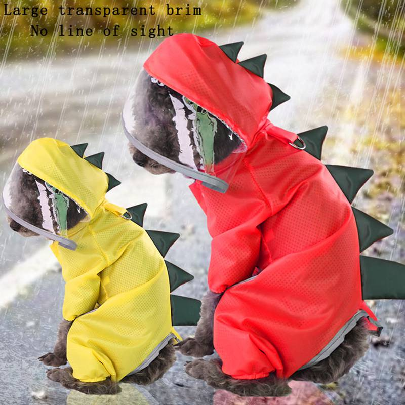 Raincoat For Dogs Waterproof Dog Coat Cat Raincoat F Dinosaur Cosplay Clothing Breathable Four Legs Small Hooded Jacket Clothes