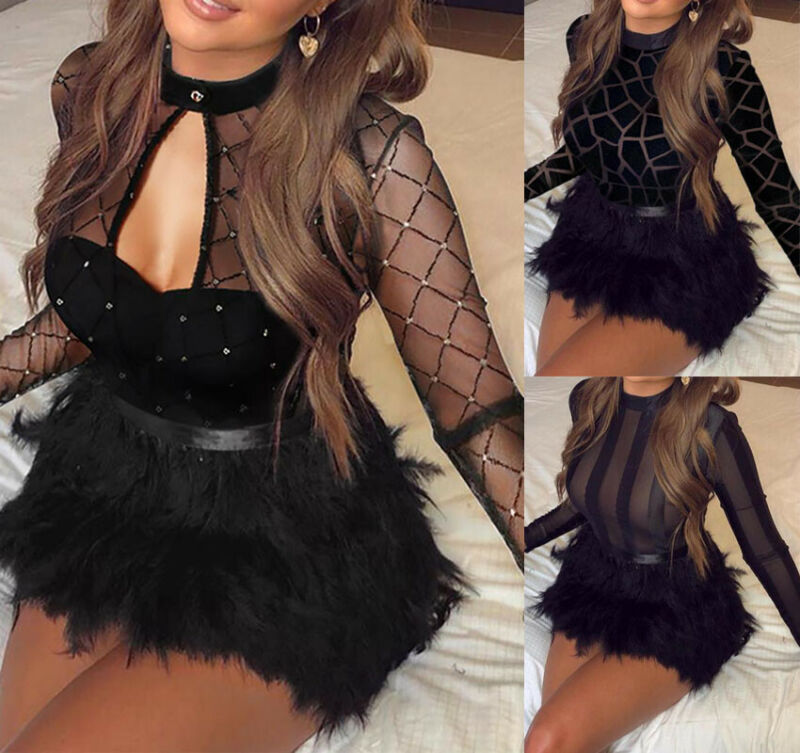 2019 Sexy Women Long Sleeve O-Neck Bandage Bodycon Evening  Party Club Mini Dress