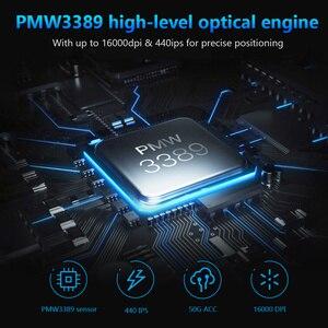 Image 2 - DAREU EM945 PMW3389 Sensor Gaming Maus 16000DPI 440IPS KBS taste Verdrahtete Mäuse mit OLED Bildschirm & DIY Seite taste für FPS Gamer