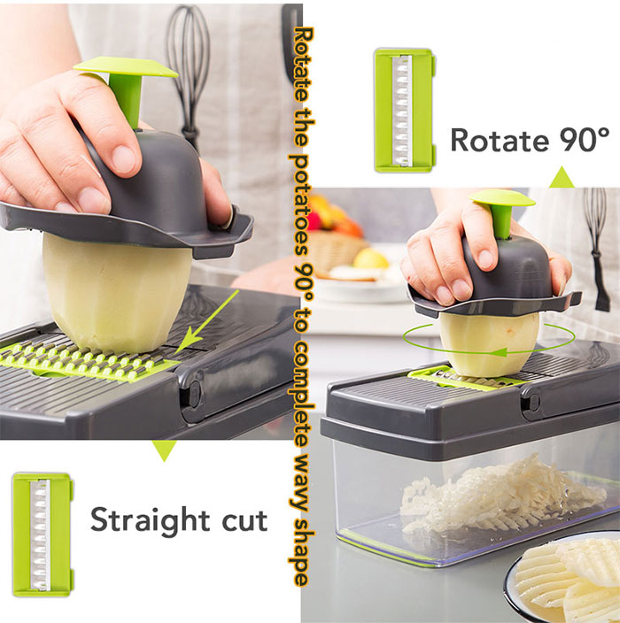 Mandoline Slicer and Vegetable/Fruits Cutter with 7 Dicing Blades as Fruit Peeler and Cheese Grater 8