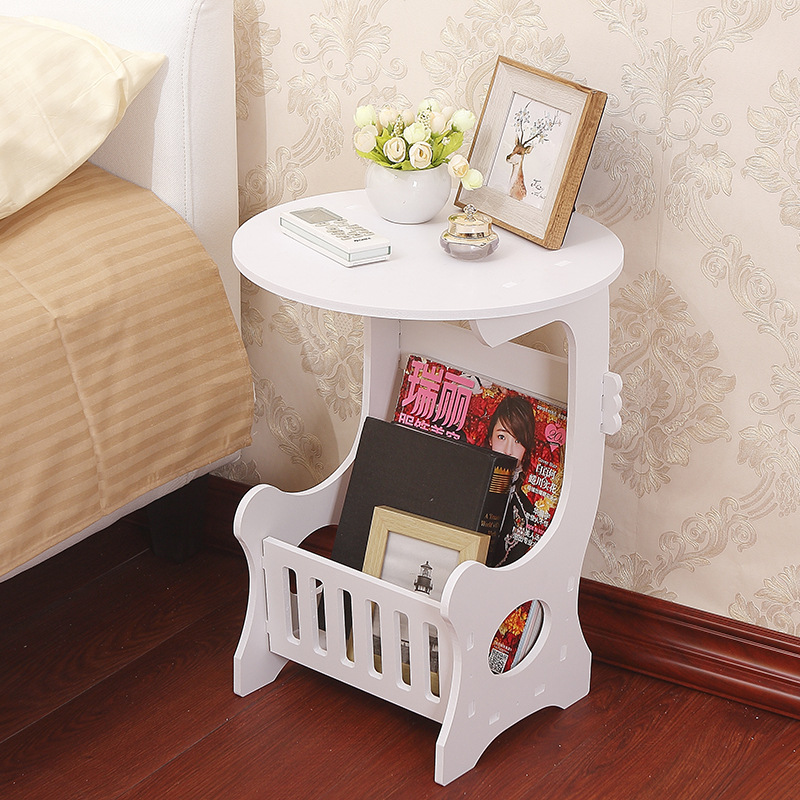 Multifunction Small Side Table Plastic Tea Coffee Table For Living Room Desk Leisure Magazine Storage Rack Table Hollow Carved