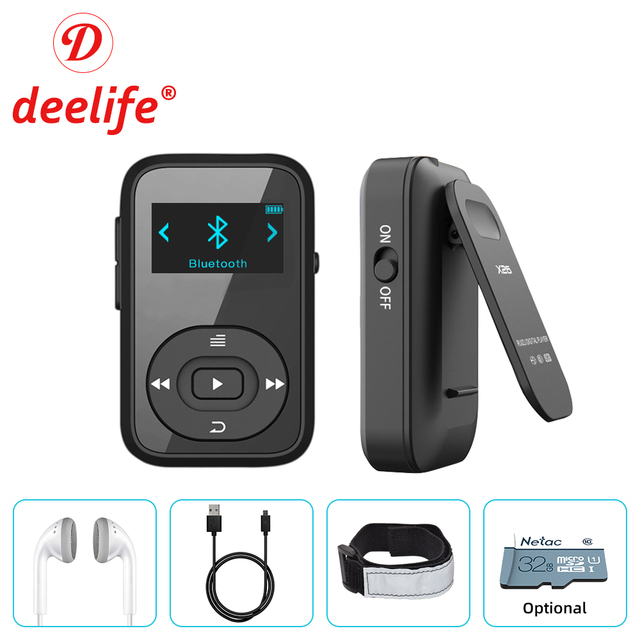 Deelife Corsa E Jogging MP3 Giocare Con Bluetooth di Sport Della Clip Fascia Da Braccio Radio 8GB di Musica HiFi MP 3 Giocatori Mini per Lo Sport