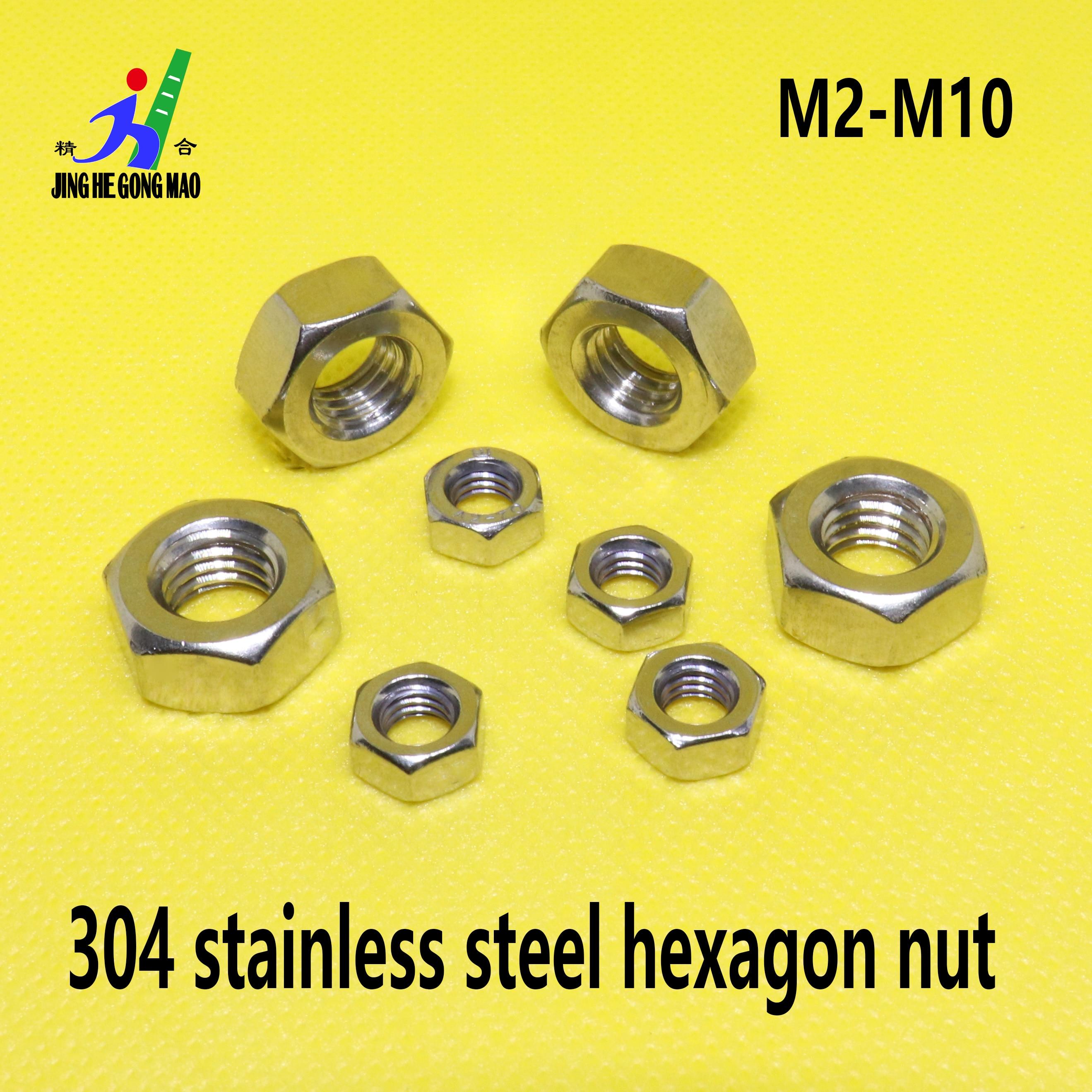 Écrou hexagonal en acier inoxydable A2 100 | 1/50/304 pièces pour M2 M2.5 M3 M4 M5 M6 M8 M10 M12 M16 M20 M24 boulon à vis|Noix|   - AliExpress