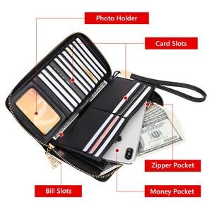 Image 5 - FOXER 女性の牛革財布女性ロングクラッチリストレット女性カードホルダー財布コイン財布携帯バッグ 256001F
