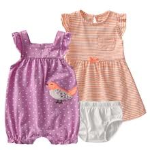 3ピース/セット新生児の女の子服夏ノースリーブソフトコットン背中の女の赤ちゃん服セットボディー幼児roupas bebes