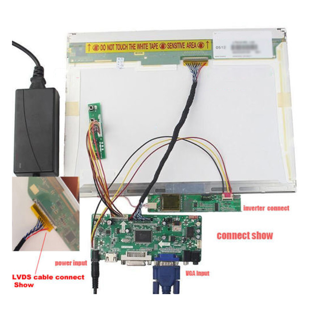 Audio LCD LED Controller Board lvds Kit For M170E5-L09 HDMI VGA DVI