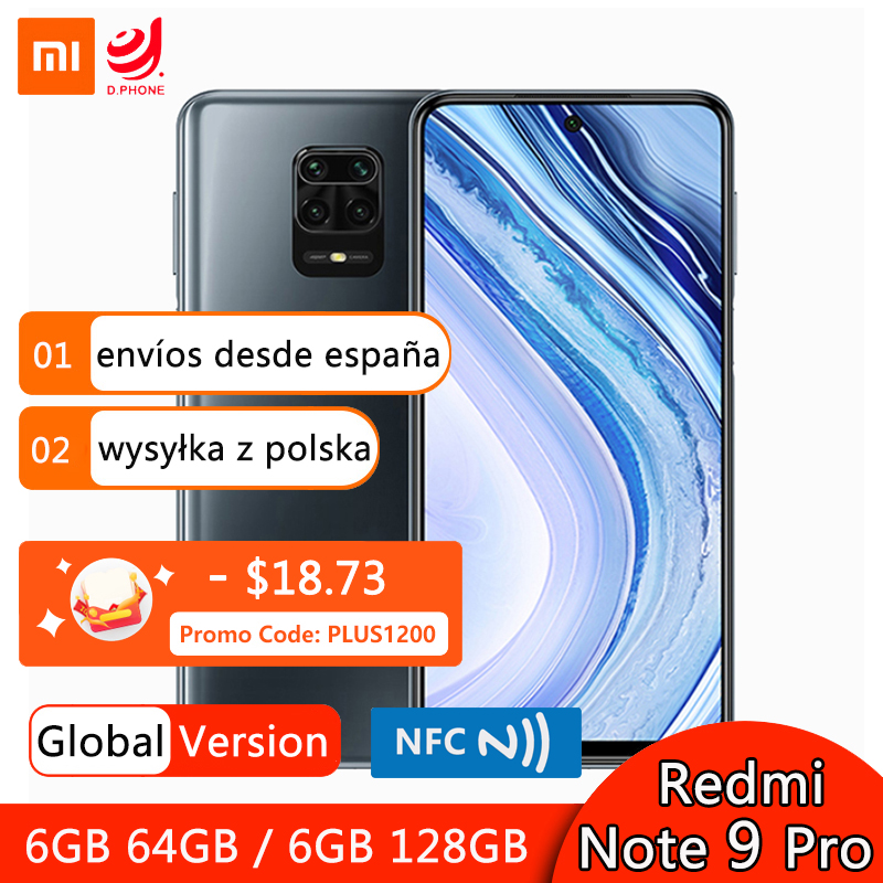 Global Version Xiaomi Redmi Note 9 Pro 6GB 64GB / 128GB NFC Smartphone Snapdragon 720G Octa Core 64MP Quad Camera 6.67