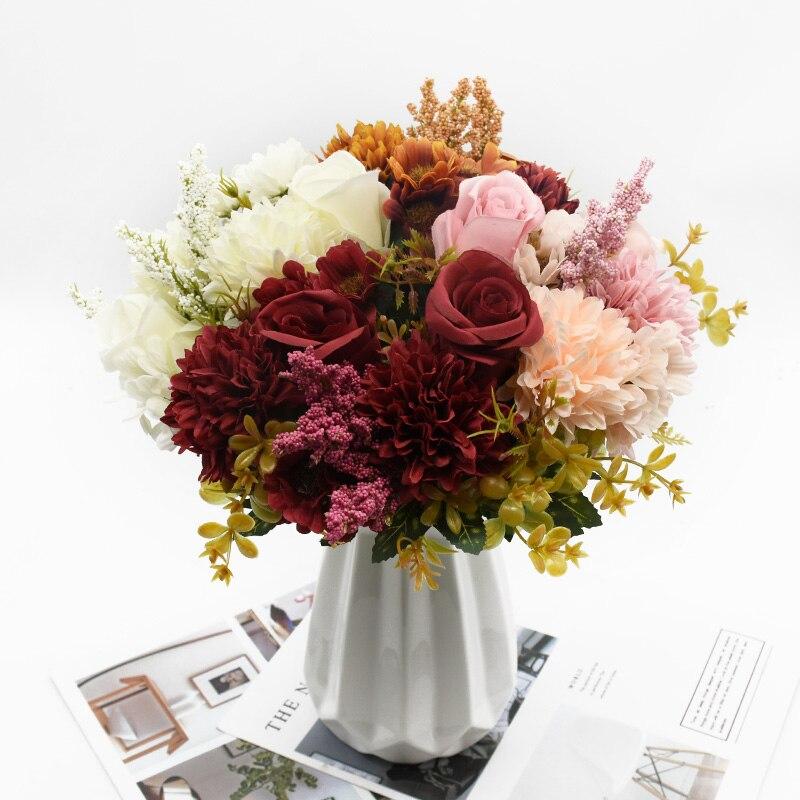 1 букет розы Хризантема сочетание букет высокое качество искусственные цветы домашний декор осеннее украшение Сделай Сам свадебный фестив...