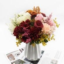 1 ramo rosa crisântemo combinação buquê de alta qualidade flores artificiais decoração para casa outono decoração do casamento diy festival