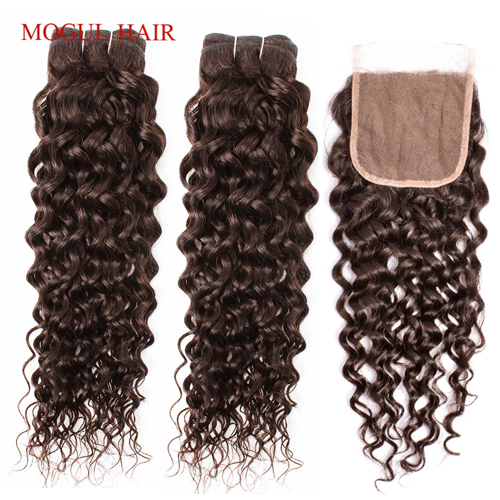 MOGUL HAIR Chocolate Brown Color 4 Brazilian Water Wave 3/4 Bundles With Closure Natural Color 10-26 Inch Non-Remy Human Hair