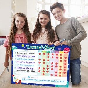 Image 1 - Pizarra blanca extraíble para nevera planificador semanal, pizarra magnética para limpiar en seco, calendario, tabla de recompensas para niños, papelería escolar para el hogar