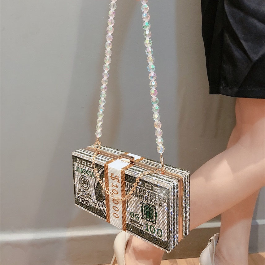 Stack Of Cash Crystals Women Money Evening Clutch Bags Diamond Wedding Dinner Purses And Handbags Luxury Women Designer Bags