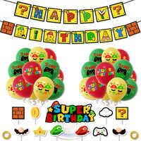 Mario-suministros para fiestas temáticas, cartel de feliz cumpleaños, pastel, decoración de chico