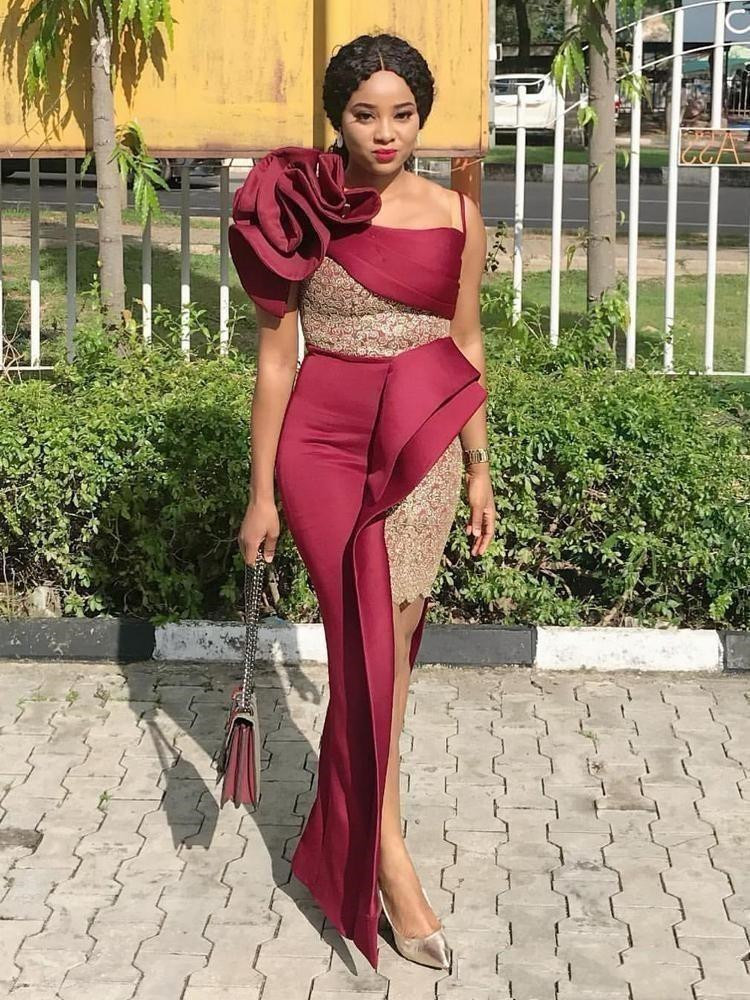 Burgundy African Mermaid Prom Dresses With Handmade Flower One Shoulder Maid Of Honor Cocktail Party Gowns Lace Side Split