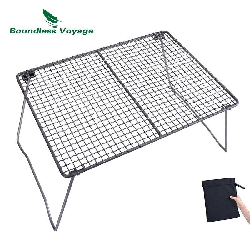Boundless Voyage Titanium Grill Net BBQ Wire Mesh Grate Mini Foldable Pot Rack Lightweight Camping Table for Outdoor Cooking
