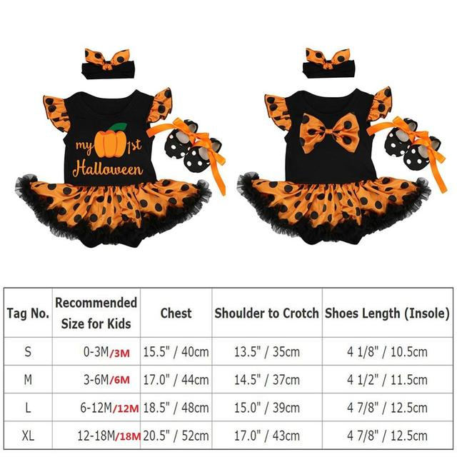 Halloween Costume for Girls Theme Party Cute Baby Girls Outfits Flutter Sleeve Romper Dress 3pcs Set Halloween Party Clothes 5