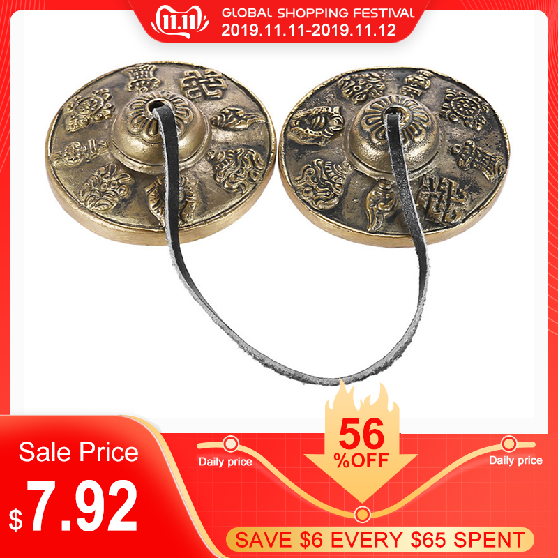 1 Pair Handcraft Tibetan Bells Meditation Tingsha Cymbal Bell Buddhist Tinkle Bell Auspicious Percussion Instrument 6.5cm