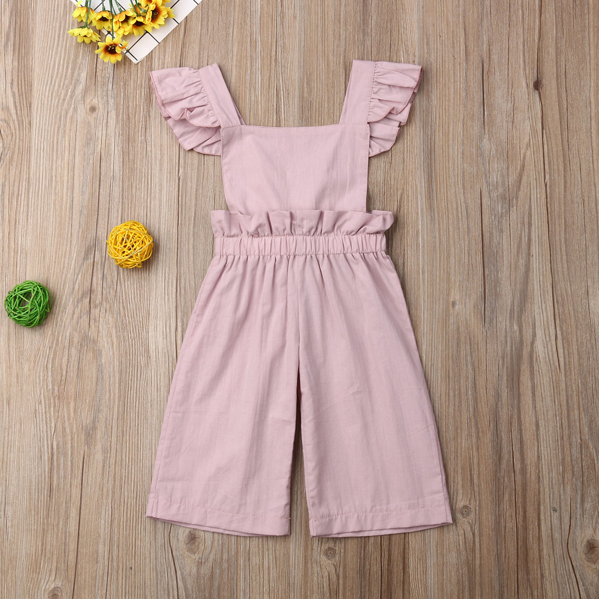 Pudcoco Newborn Baby Girl Clothes Solid Color Sleeveless Ruffle Romper Jumpsuit One-Piece Outfit Cotton Clothes Playsuit