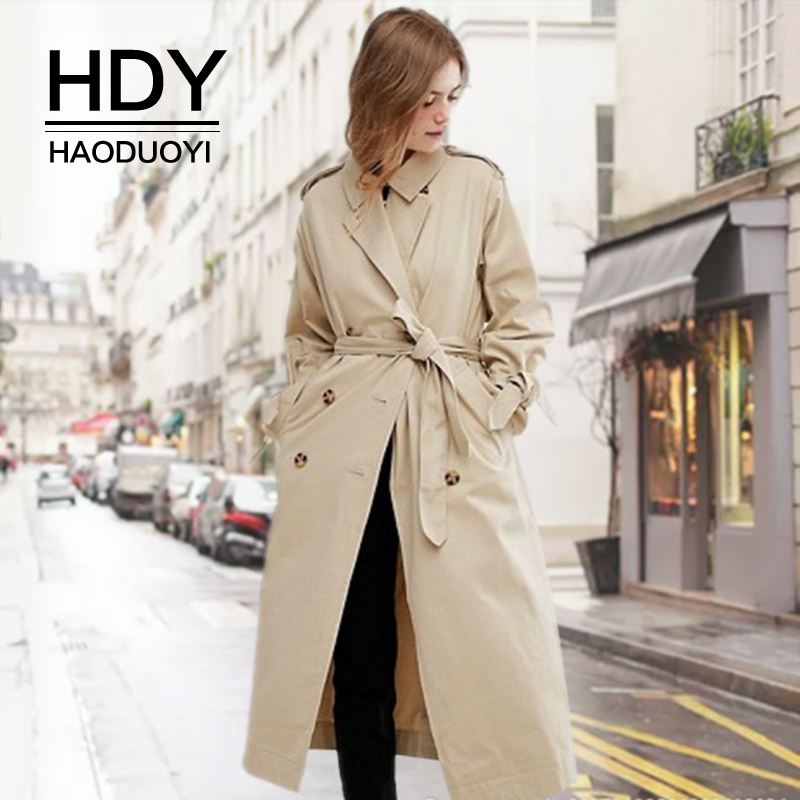 HDY Haoduoyi Autumn New Fashion Casual Classic Double-breasted Windbreaker Jacket Outerwear Loose Clothes Female   Trench   Coat