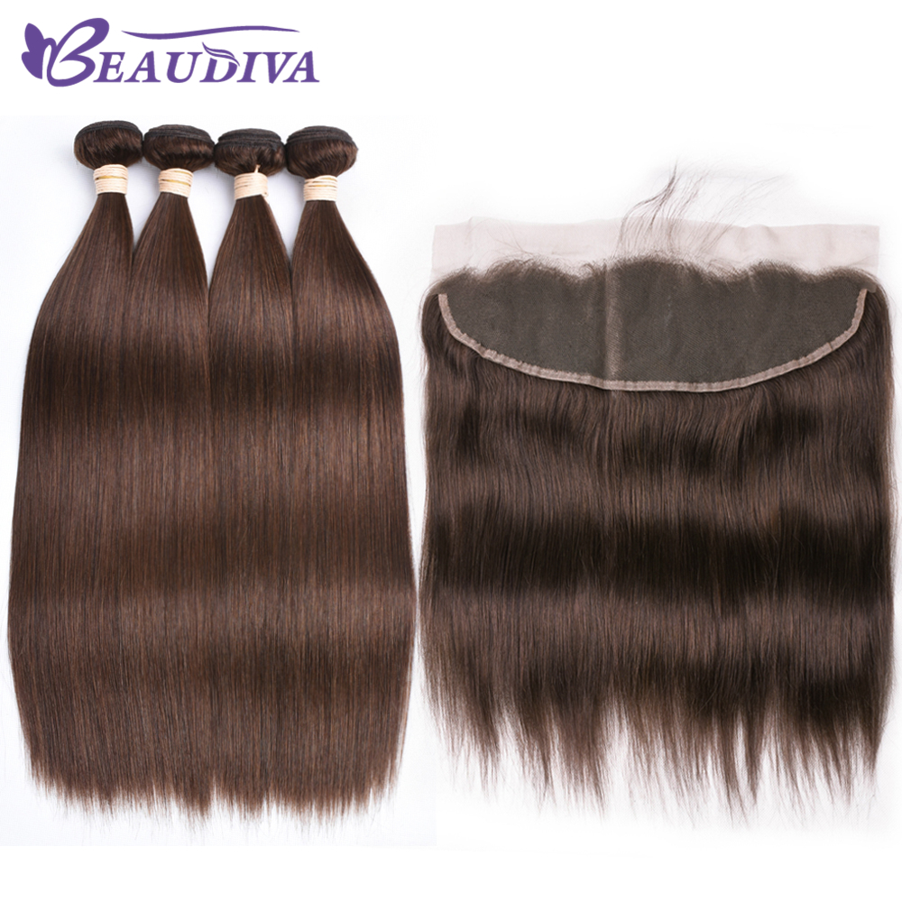 Beaudiva Ear To Ear Lace Frontal Closure 13X4 Free Part With 3 Pcs #4 Color Brazilian Straight Remy Hair Bundles