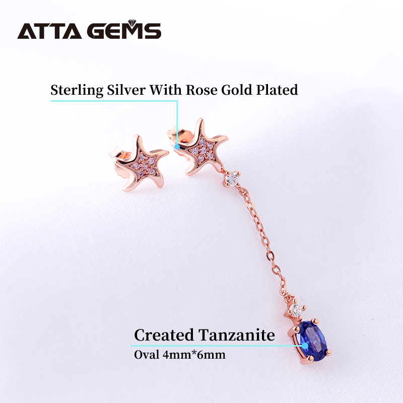 Tanzanite Sterling Silver DroP Earring Rose Gold Plated Created Tanzanite Lovely Design for Girls Birthday Gifts Jewelry