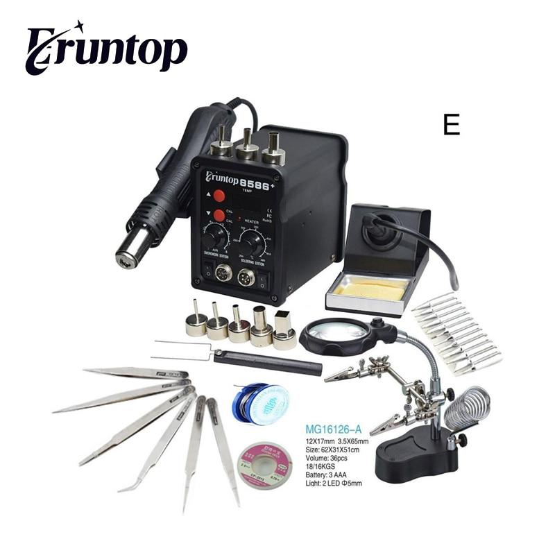 Black Eruntop 8586+ Digital Display  Electric Soldering Irons +Hot Air Gun Better SMD Rework Station Upgraded 8586
