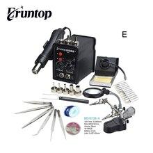 Siyah Eruntop 8586 + dijital ekran elektrikli havyalar + sıcak hava tabancası iyi SMD Rework istasyonu yükseltilmiş 8586