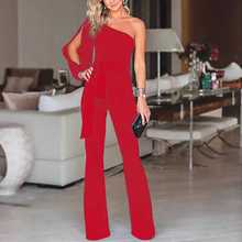 Linglewei New Spring and Summer Women's Suit one shoulder sleeve lace up one-piece pants one shoulder contrast lace blouse