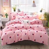 Conjunto de capa edredão algodão rainha completa rei rosa sólida luxo adulto crianças único gêmeo folha fronhas 4pcs conjunto cama dupla