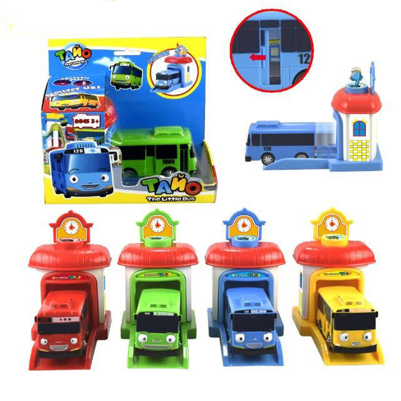 New TAYO Small Bus Cute Catapult Sliding Door Can Open Car Park Catapult Toy Anime Model Baby Puzzle Gift Children's Car Toys