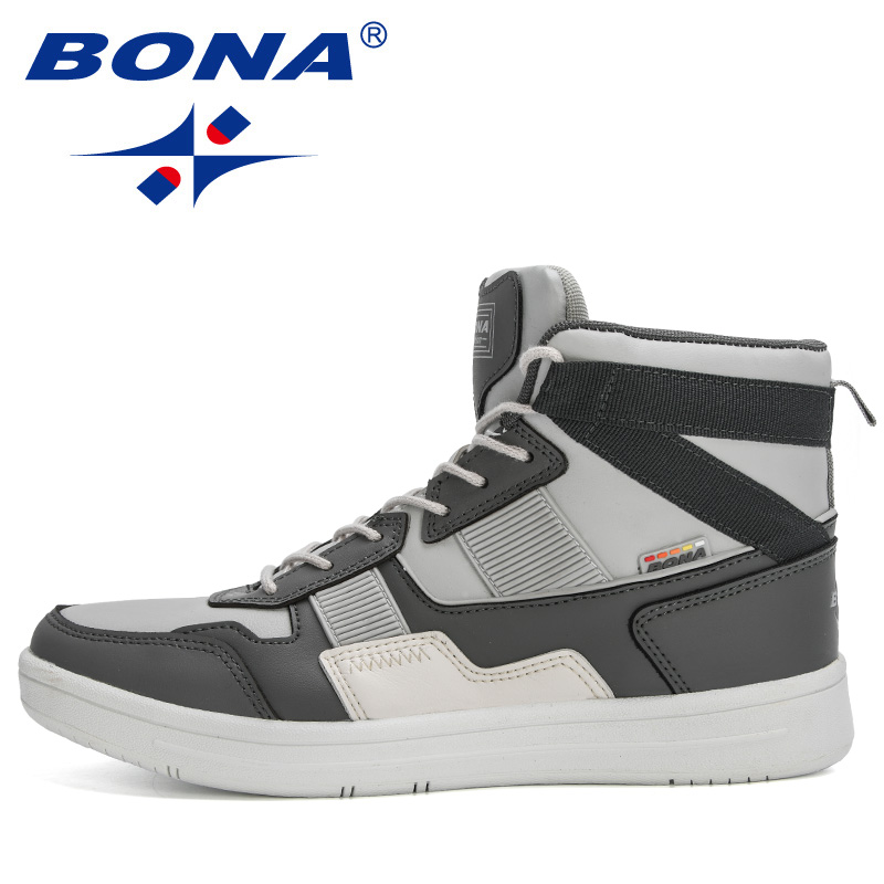 BONA 2020 New Designers High Top Sneakers Men Casual Skateboarding Shoes Man Sports Shoes Walking Shoes Street Shoes Masculino