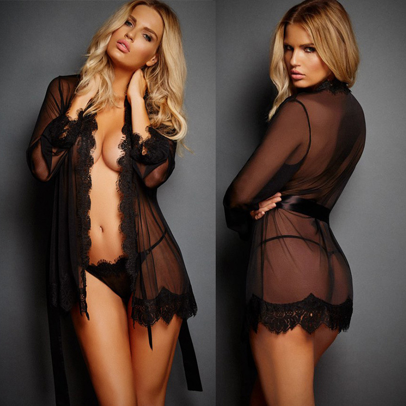 Sexy Night Dress Sleepwear Lace Hollow-out Nightwear Plus Size Pijama Transparan Lingerie Women Bandage Deep V Black
