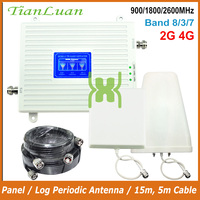 TianLuan Mobile Phone Signal Booster 900 1800 2600 MHz 2G 4G Signal Repeater GSM DCS LTE Cellular Signal Amplifier Band 8  3  7