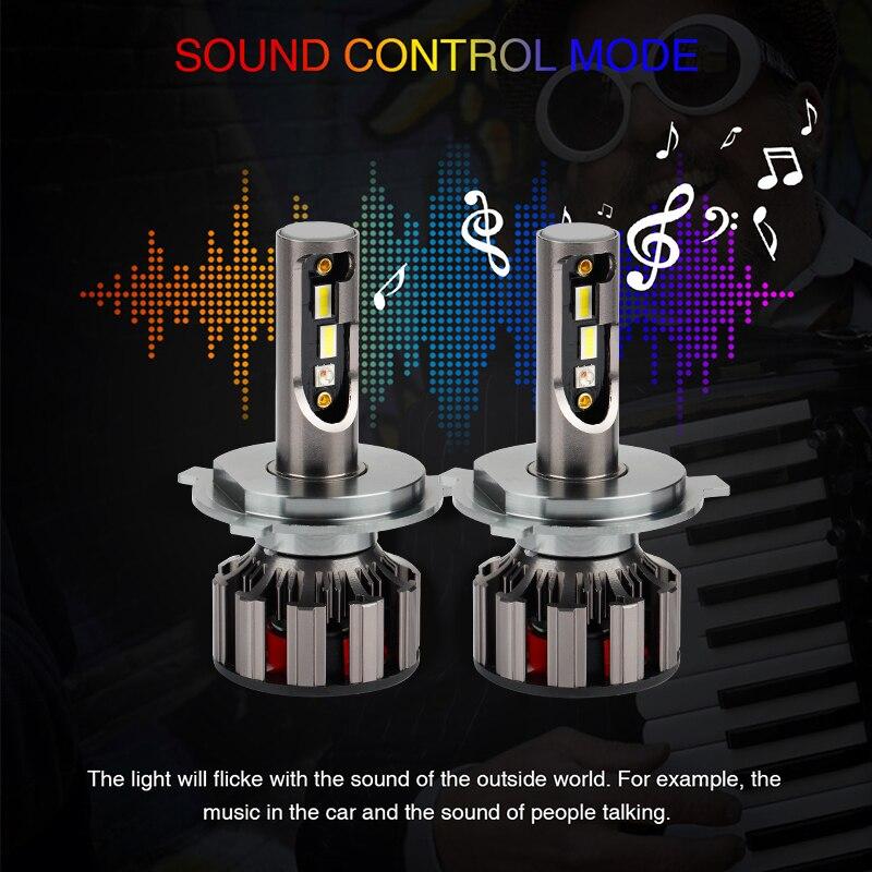 2 pièces APPLICATION Bluetooth Contrôle RVB Voiture phare LED Couleur Changeante Lumière H1 H3 H8 H9 H11 9005 9006 Lampe Frontale automatique H4 LED H7 Ampoules - 3