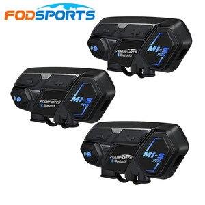 Image 1 - 3pcs Fodsports M1 S pro Motorcycle Headset Helmet 8 Riders 2000m Group Talk 850mAH Moto Bluetooth waterproof helmet intercom