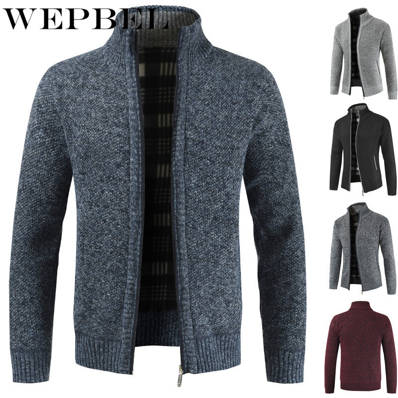 WEPBEL Winter Men's Cardigan Sweater Slim Mens Stand Neck Knit Shirt Jacket