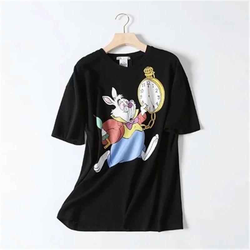 Engra-ado-Rabbitt-Das-Mulheres-t-camisa-Dos-Desenhos-Animados-o-pesco-o-Casual-manga-curta