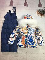 80 145cm 2019 Winter Jacket Children down jackets & PANT duck down Fur hooded flower girl snowsuit boy set outerwear ski suit