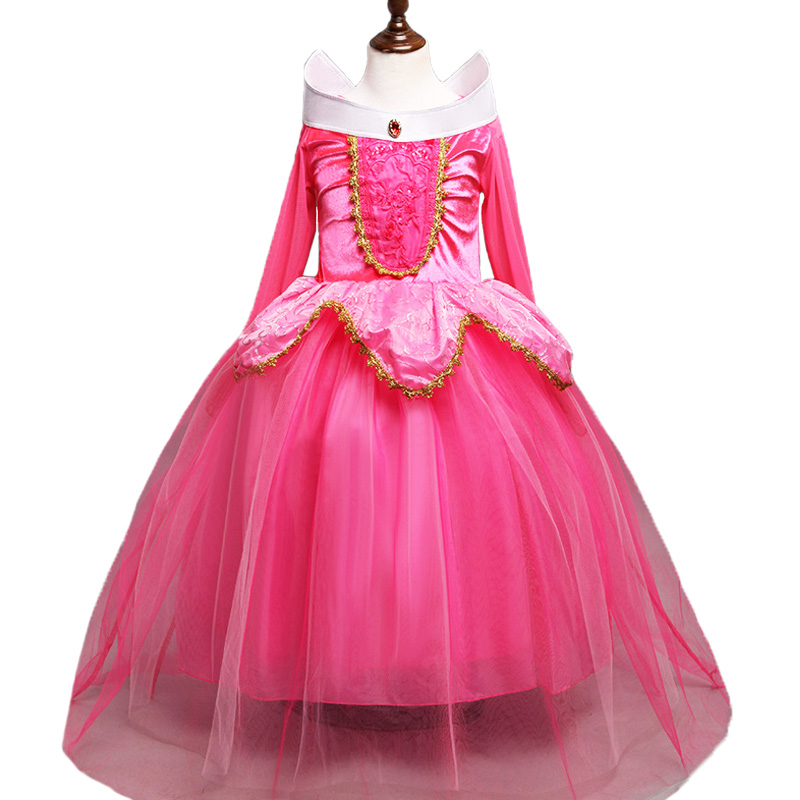 3 10Y Girl Aurora Princess Costume Kids Sleeping Beauty Cosplay Dress Halloween Christmas Dress Children Birthday Party DressDresses   -