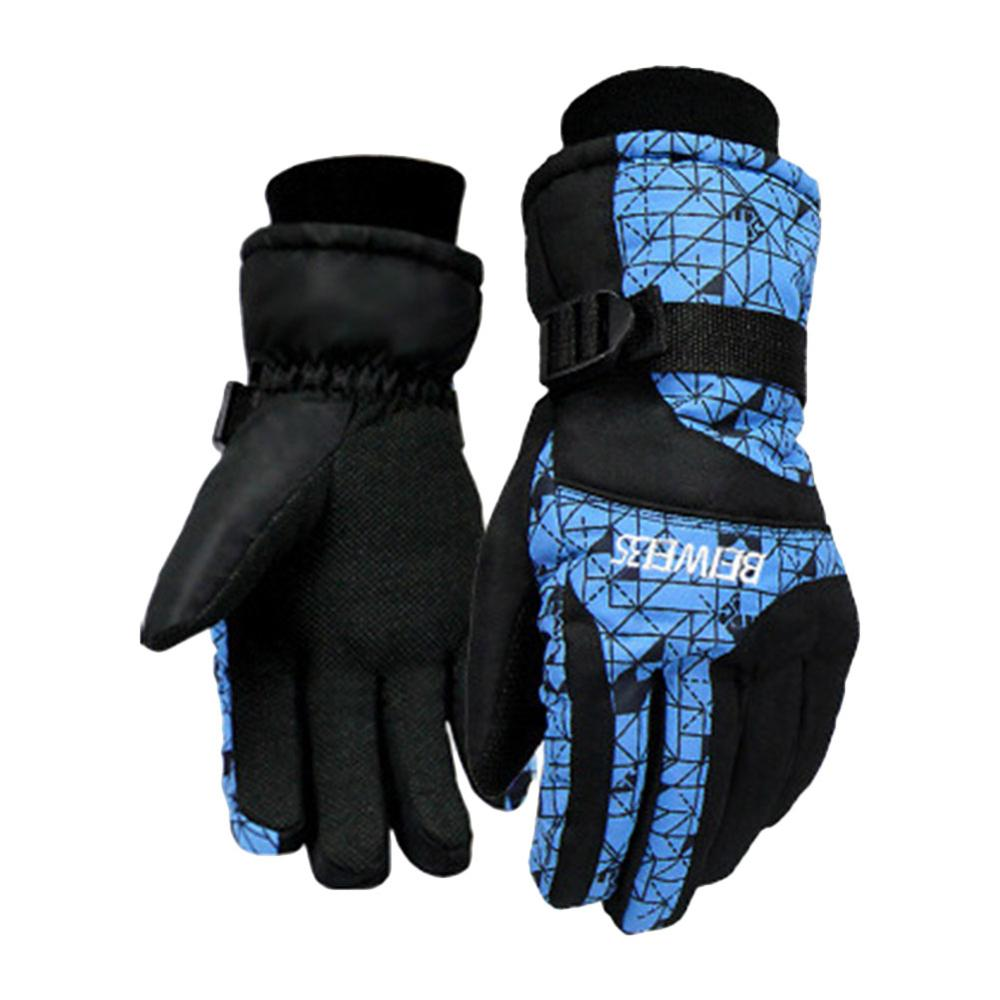 1Pair Outdoor Bicycle Riding Motorcycle Gloves Cold Wear Velvet Thickening Ski Gloves Waterproof Winter Windproof Warm