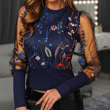 Sexy Women Spring Fall Embroidery Floral Shirt Blouses Tops