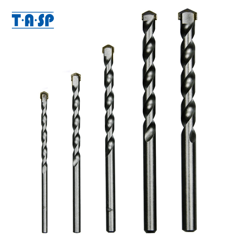 TASP 5pcs Masonry Drill Bits Tungsten Carbide Tipped Concrete Brick Stone Drilling Set Size 4/5/6/8/10mm Power Tool Accessories