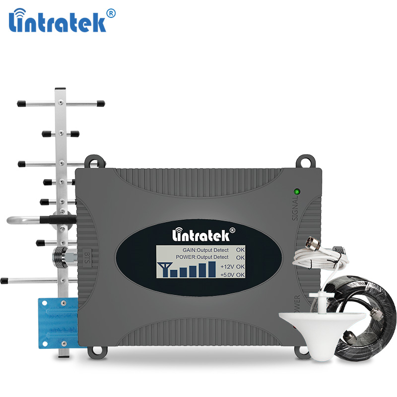 Lintratek GSM 2G 3G 4G Signal Booster 900 1800 2100 2600MHz Cellphone Signal Repeater 4G 1800 2600 3G 2100 Single Band  Full Kit